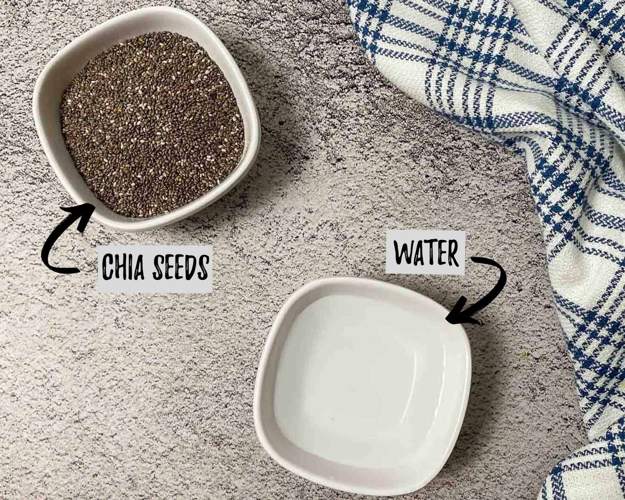 bowl of chia seeds and bowl of water