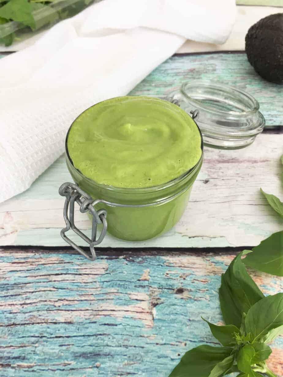 green goddess salad dressing in glass jar