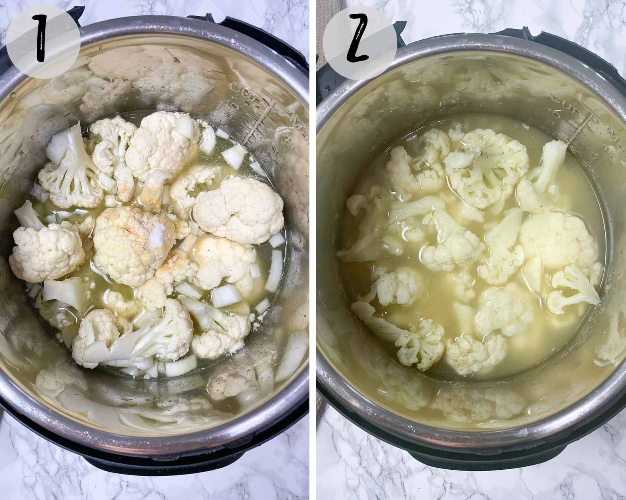 cauliflower and broth inside Instant Pot