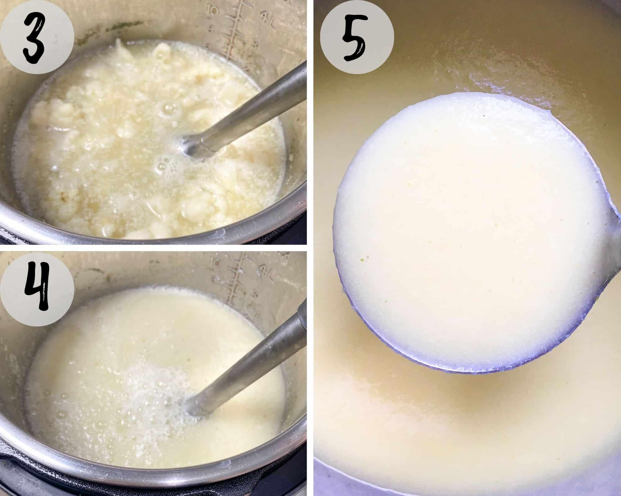 soup being blended with immersion blender inside instant pot
