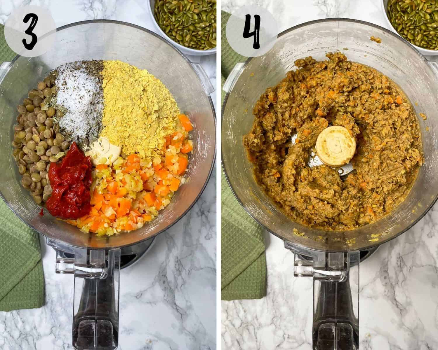 food processor with lentils, seasoning, sauteed onion, garlc and carrot, processing into batter