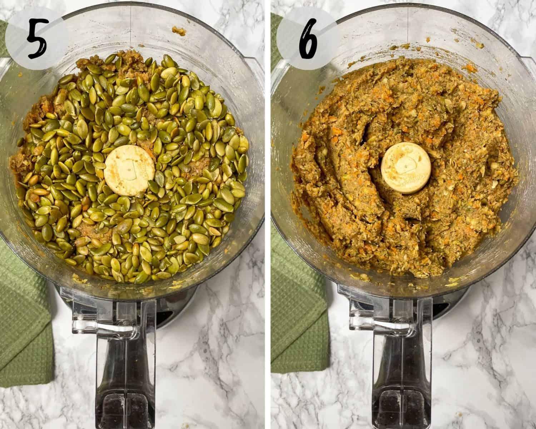 pumpkin seeds in food processor to make batter for vegan meatballs