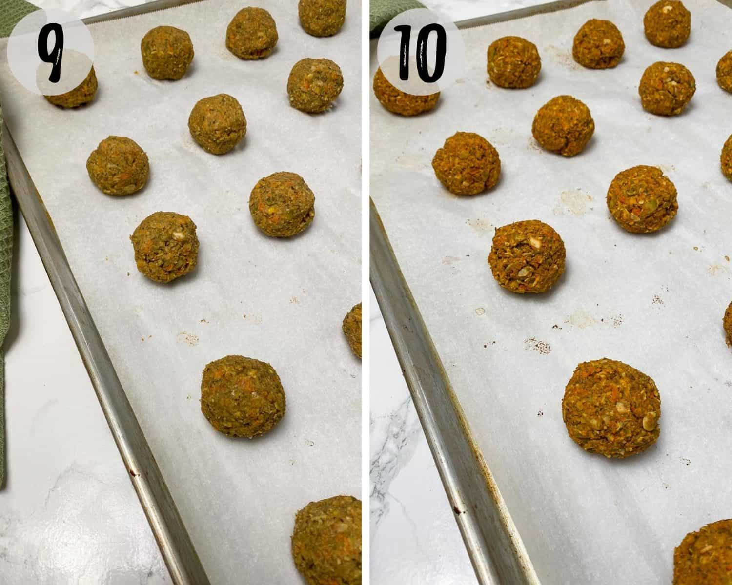 vegan meatballs on baking tray with parchment paper before and after baking