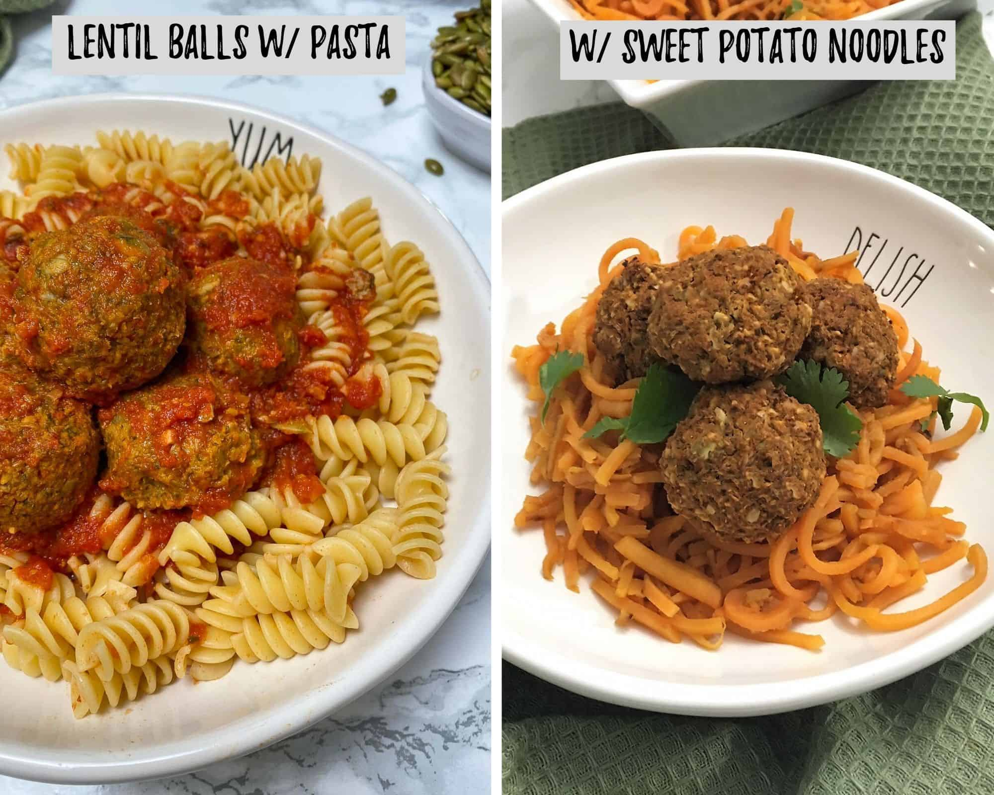 lentil balls with pasta and sweet potato noodles in bowl