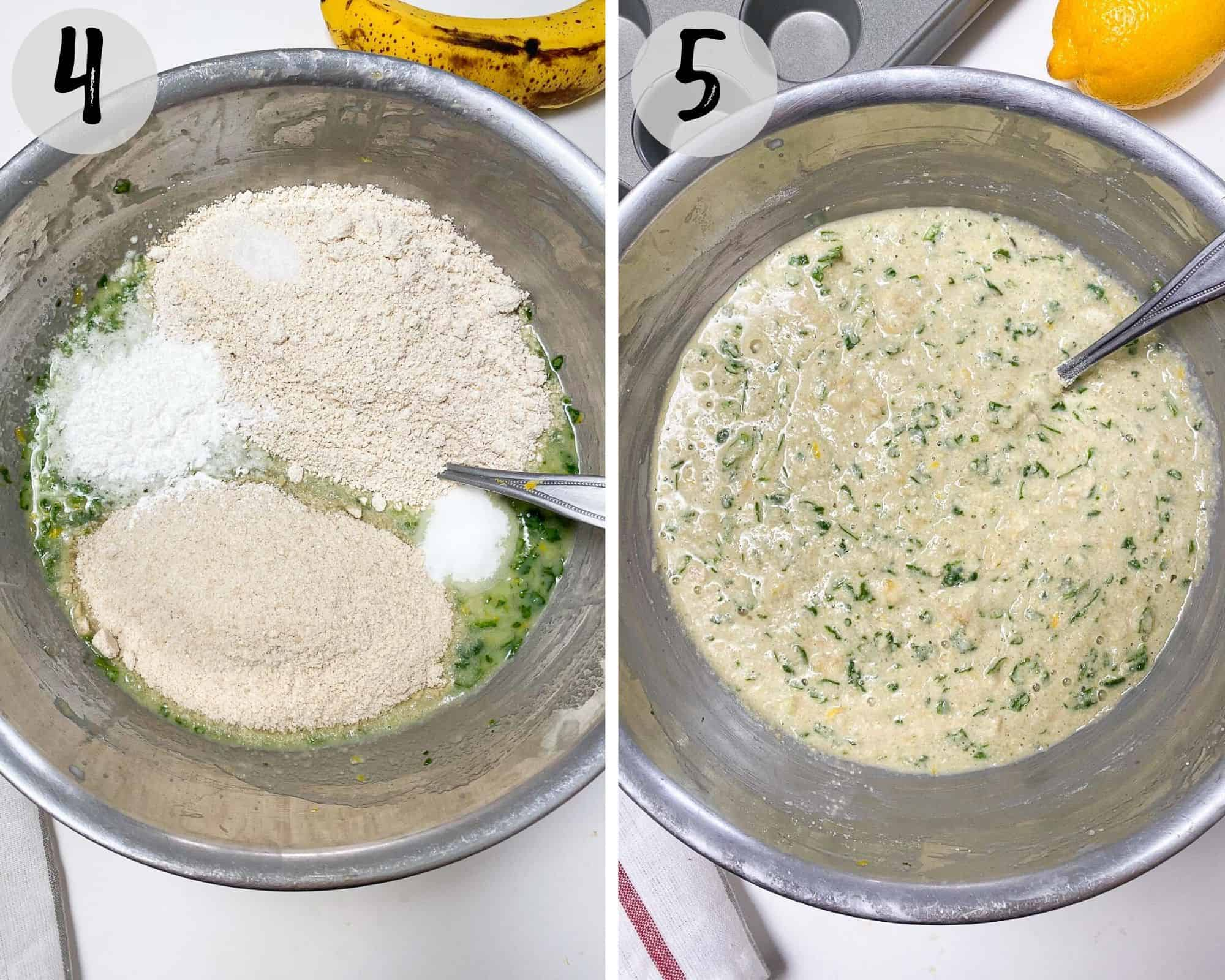 mixing bowl filled with dry and wet ingredients mixed to make batter