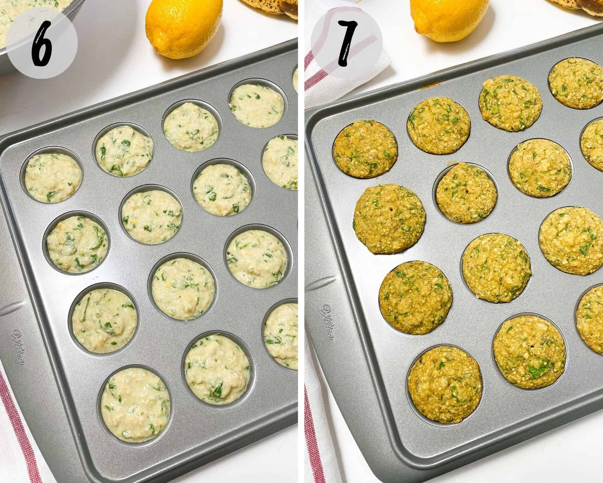 mini muffins in baking pan before and after cooking