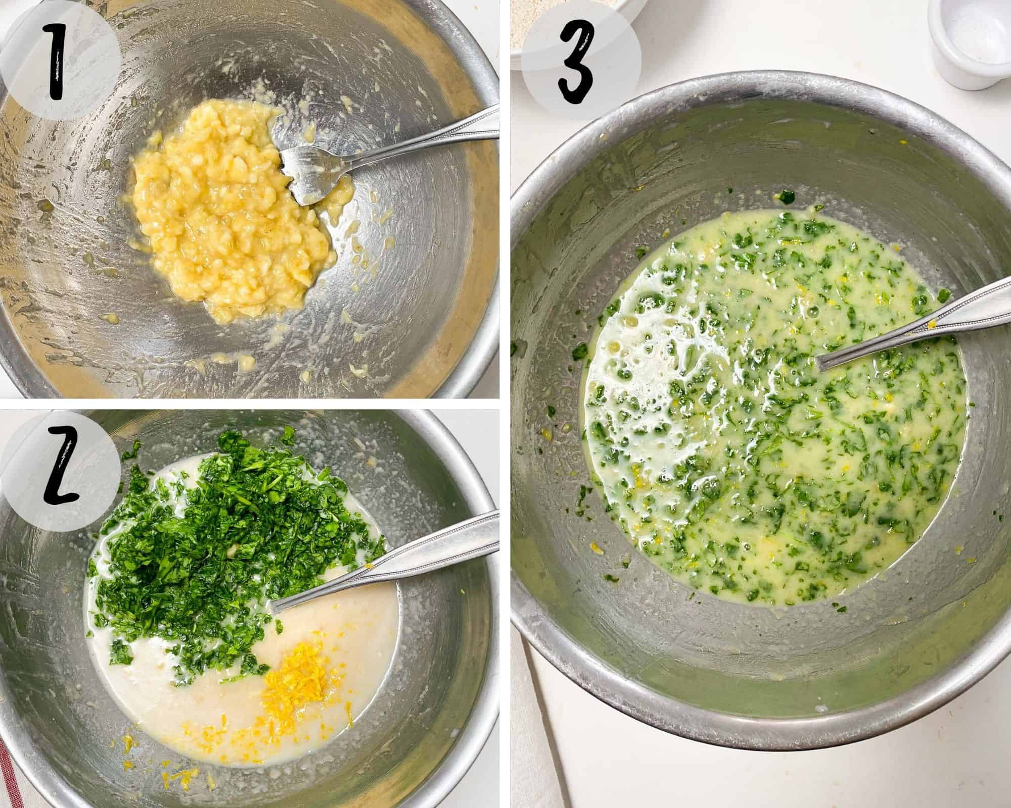 mashed banana in large bowl with chopped spinach and lemon zest to make muffin batter