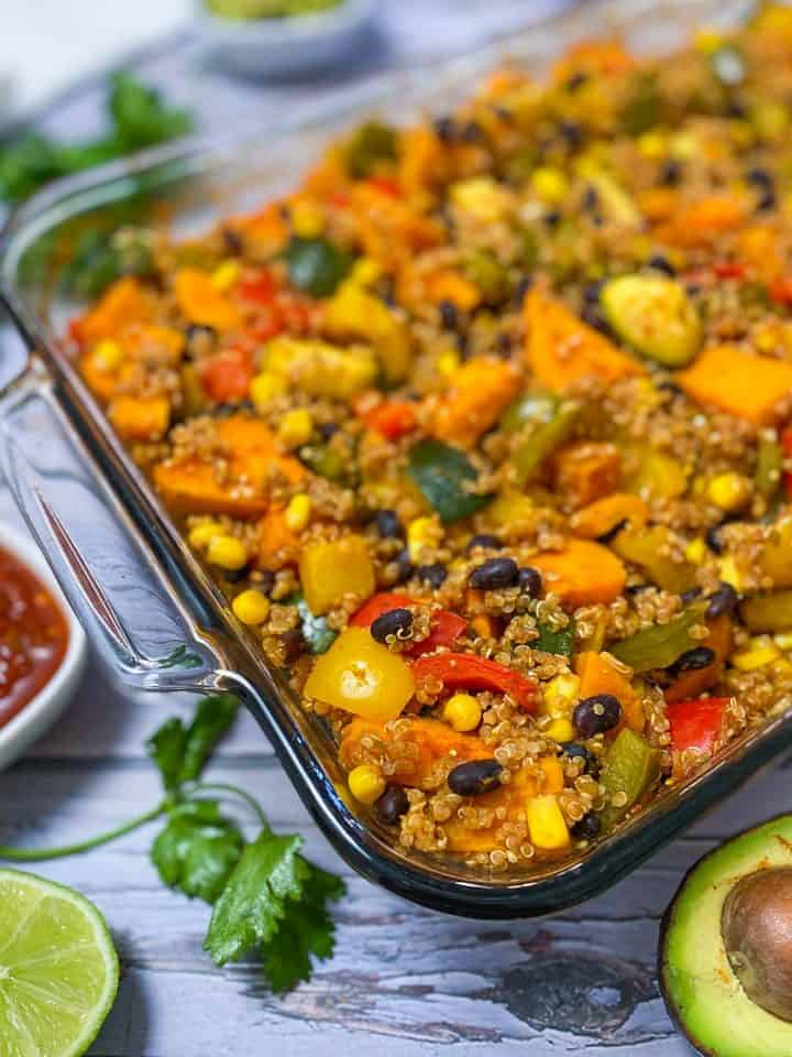 baked enchilada casserole in glass dish