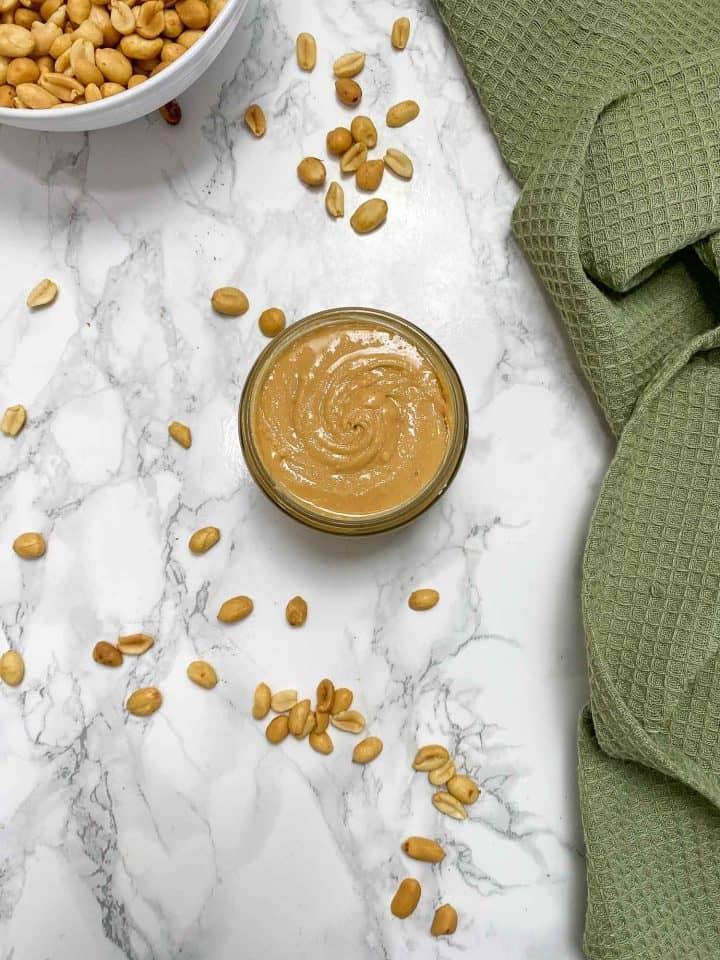 birds eye view of peanut butter in glass jar