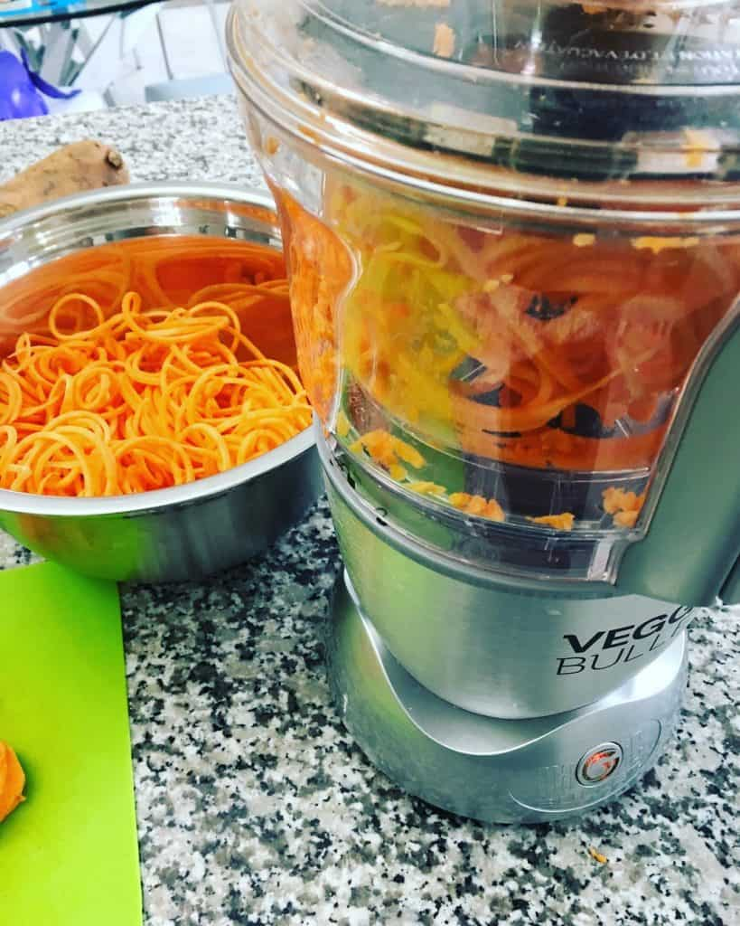 veggie bullet spiralizing sweet potato