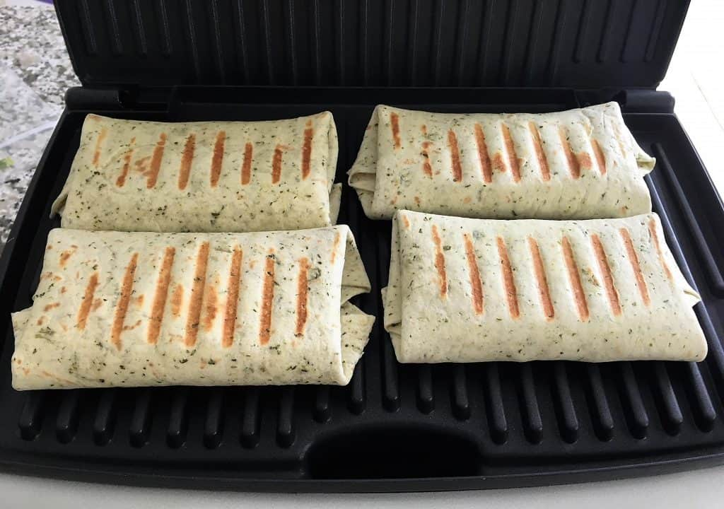 vegan wraps grilling on panini press