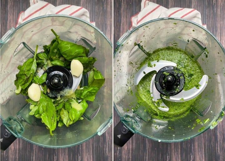 food processor filled with basil, lemon juice, and garlic to make pesto sauce