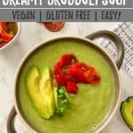 broccoli soup PIN with text overlay.