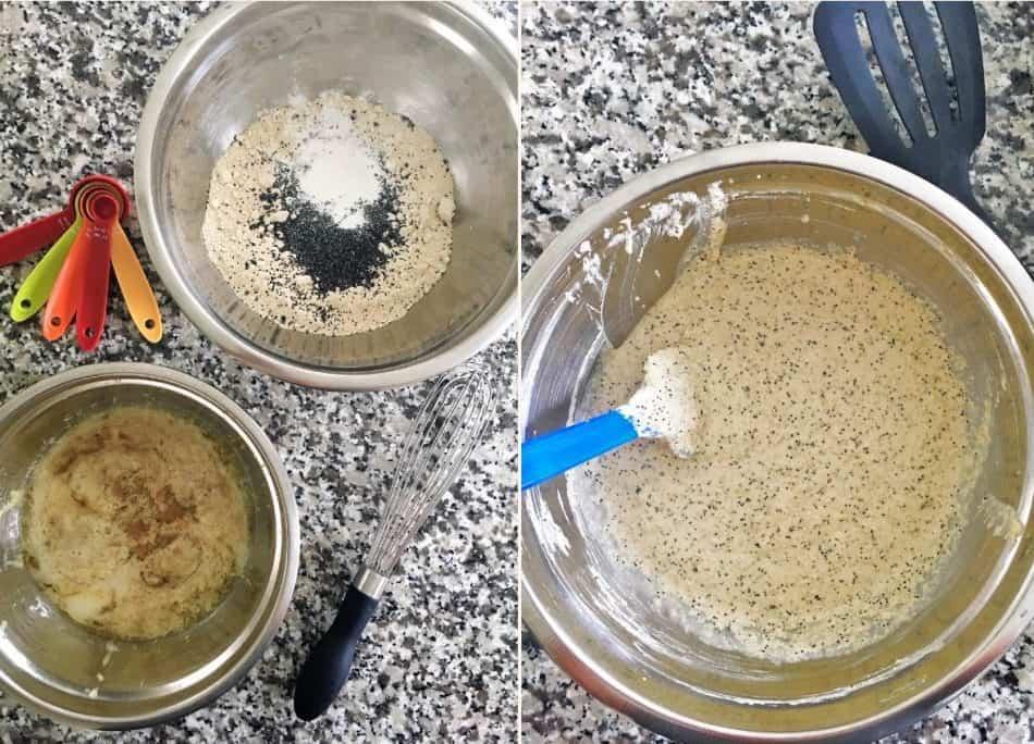 bowls of pancake batter