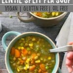 lentil split pea soup PIN with text overlay.