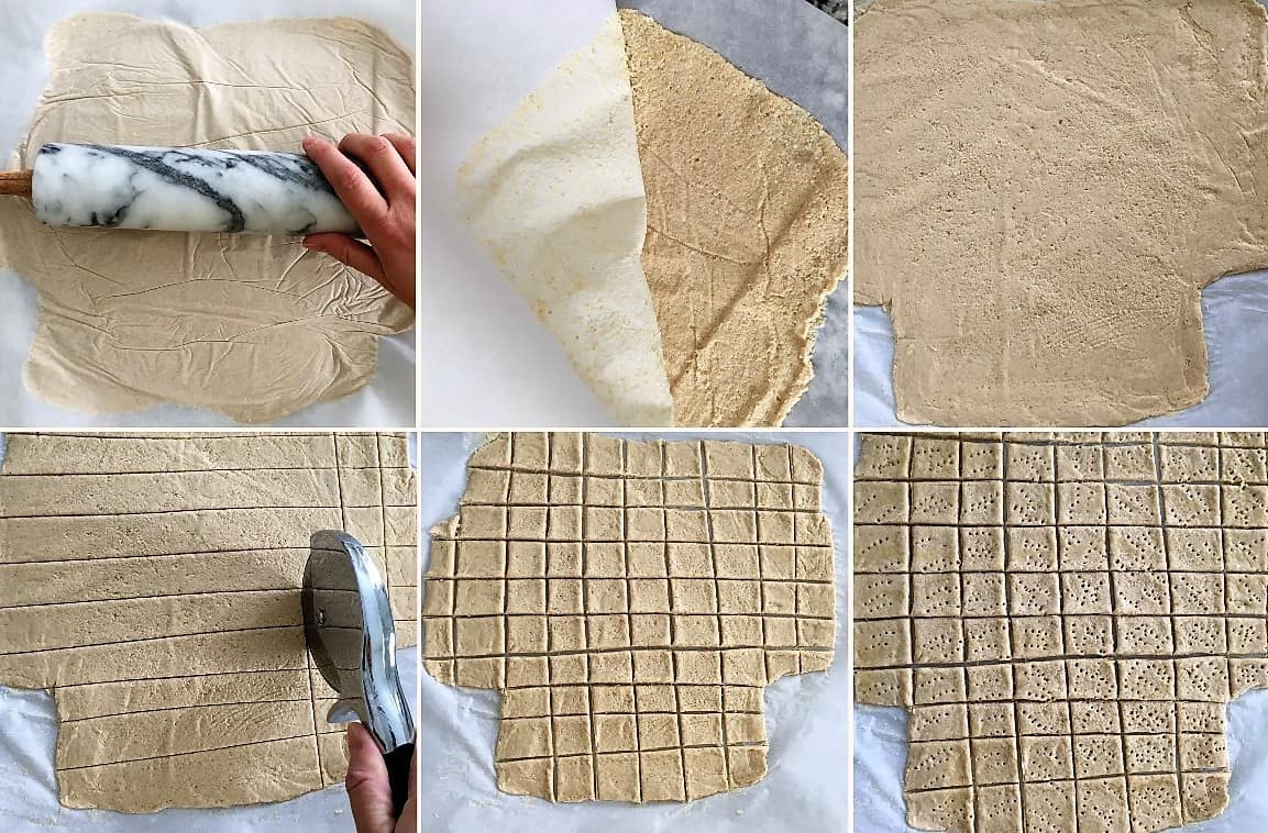 Dough being stretched out with rolling pin and then sliced into square crackers.
