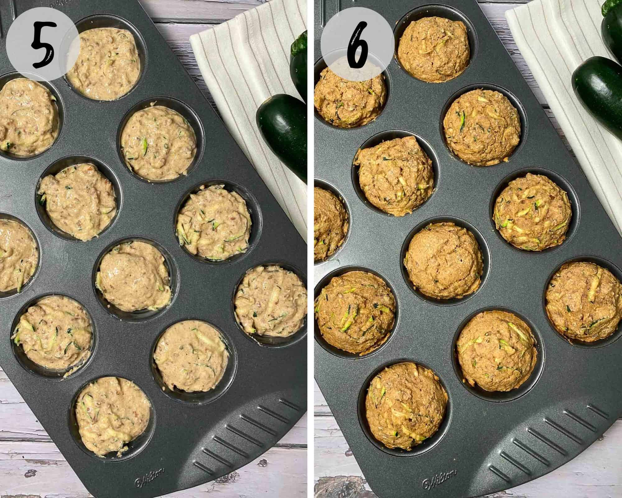 muffin batter in muffin tray before and after baking