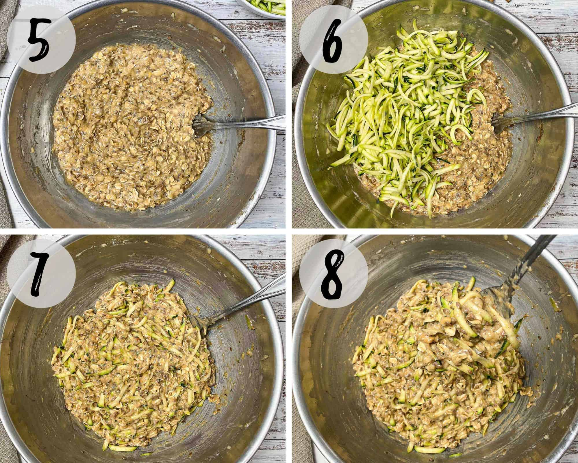 collage of 4 images of cookie dough batter with shredded zucchini being mixed in