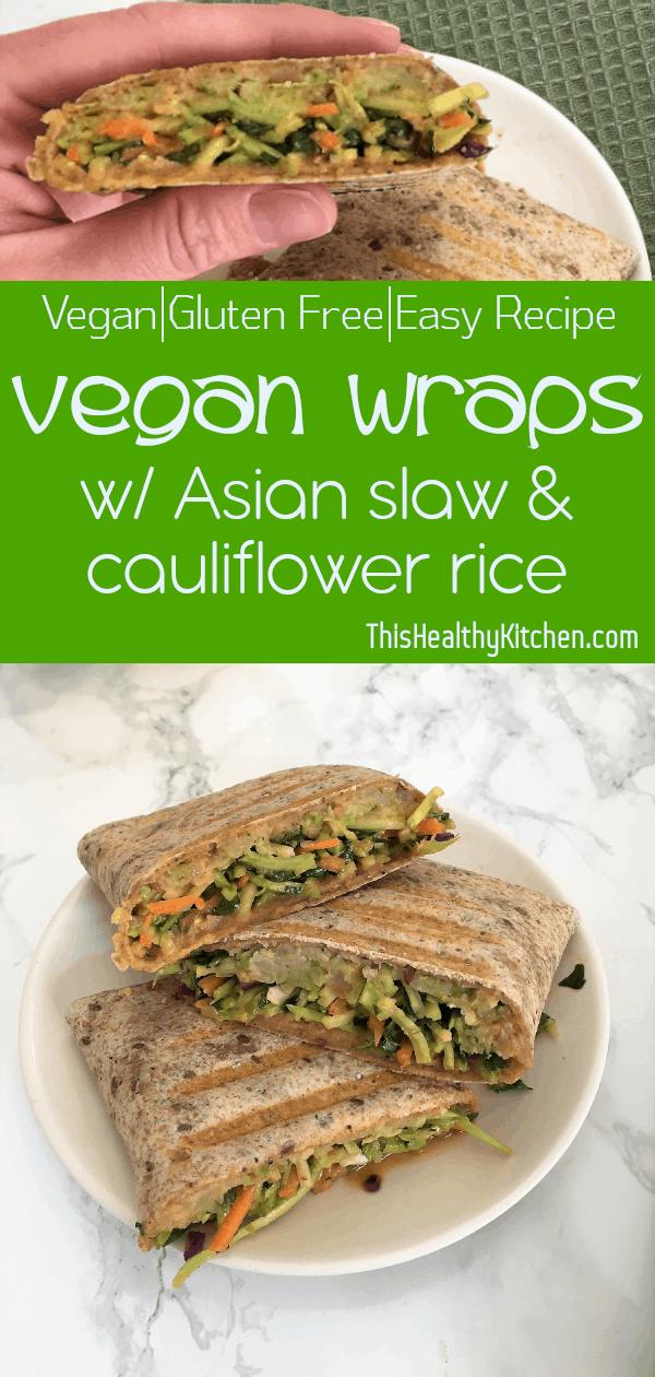 asian slaw vegan wraps pin