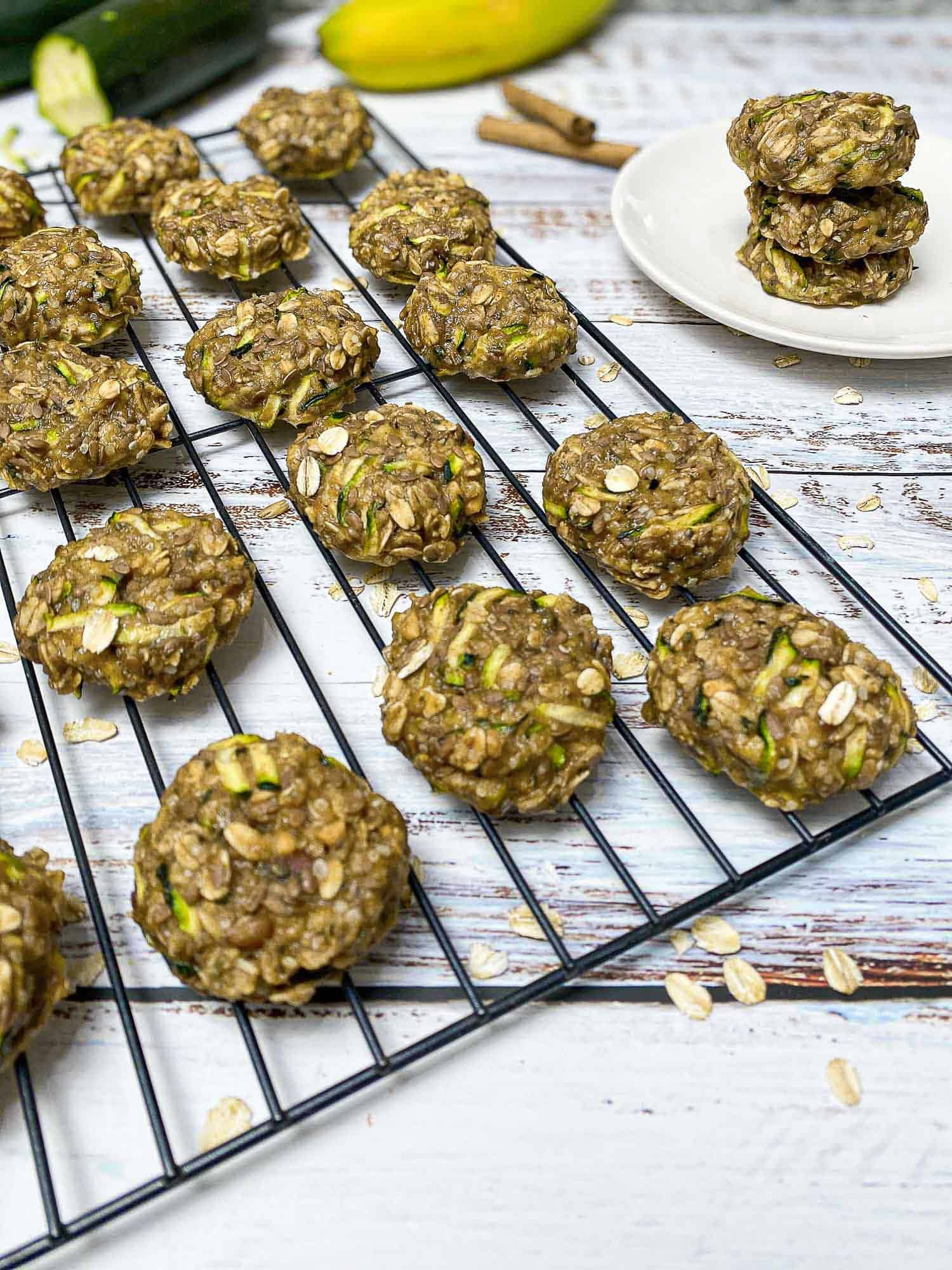 cooling wire rack with zucchini oatmeal cookies