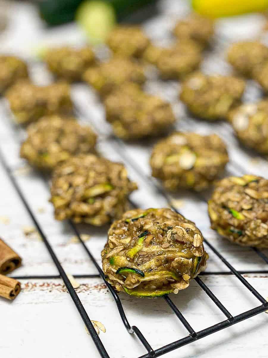 zucchini vegan oatmeal cookies on cooling rack
