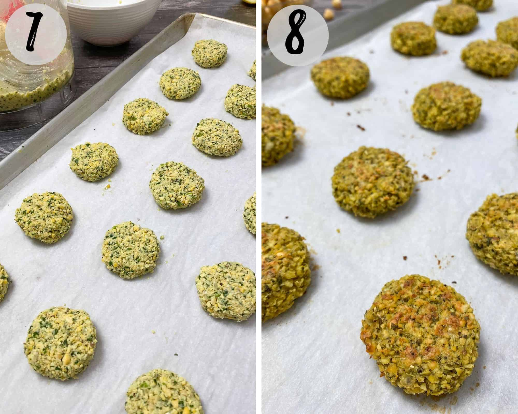 Falafel on baking tray before and after baking.