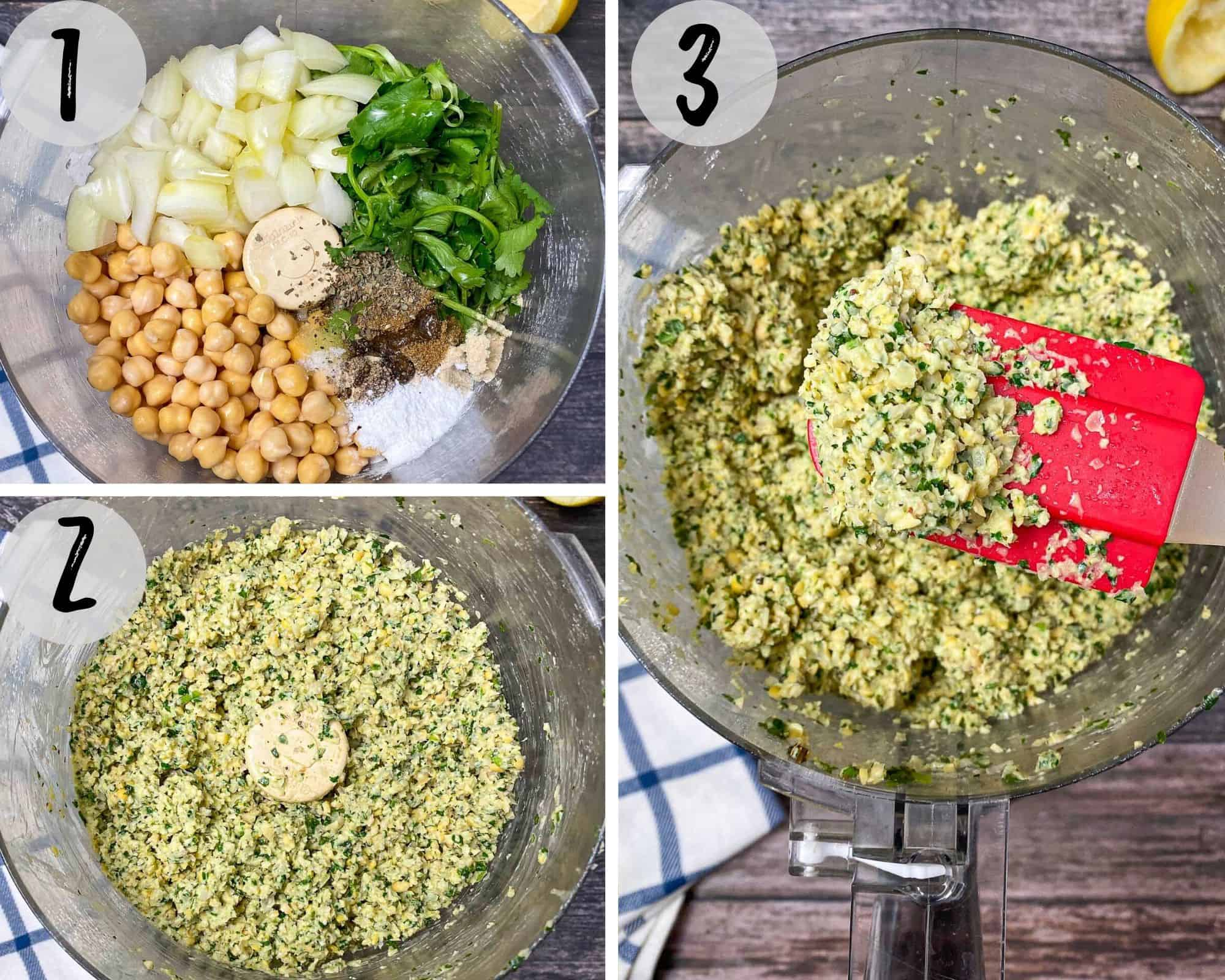 food processor with chickpeas, seasoning, onion and cilantro being processed into a crumbly mixture