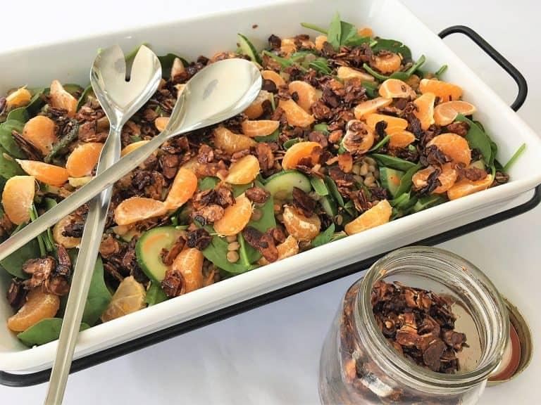 candied slivered almonds on salad