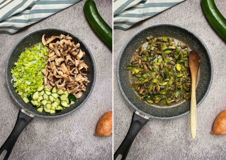 sauteing mushrooms, leek and zucchiniin large skillet