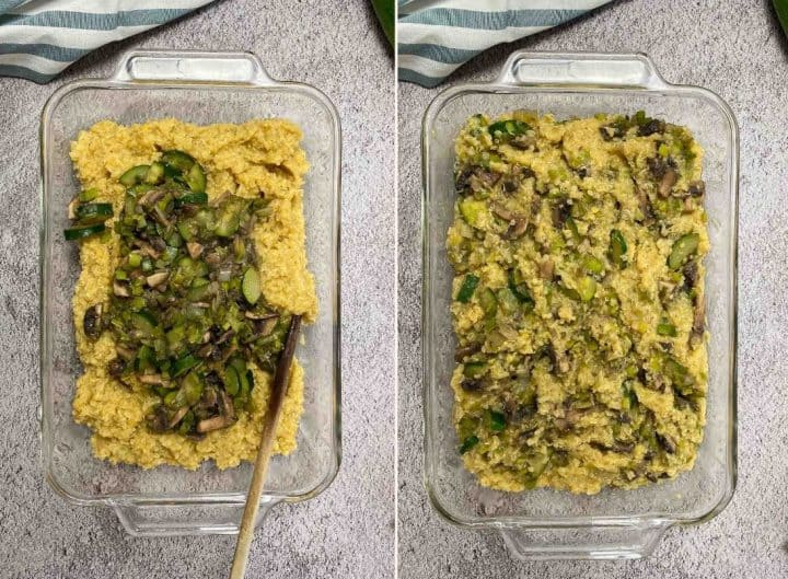 mixing veggies into lentil and quinoa in glass dish