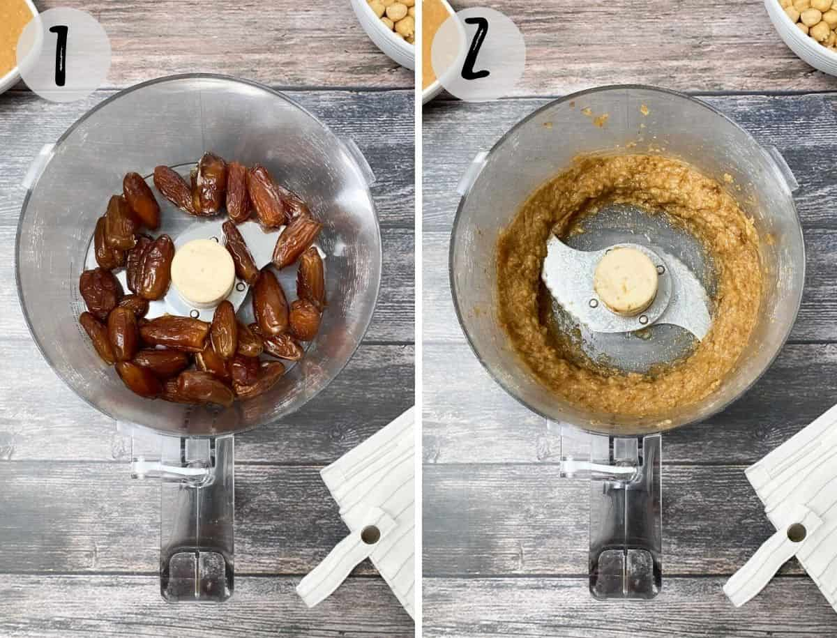 dates and water in food processor to make date paste