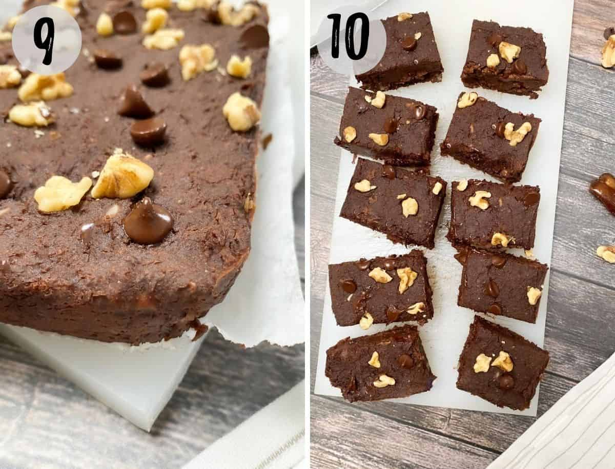 baked brownies on cutting board cut into 10 squares