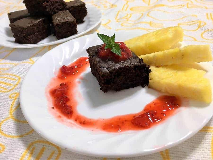 Chocolate Avocado Brownies with pineapple garnish