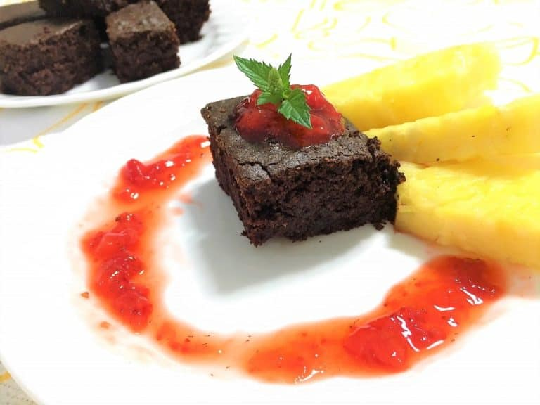 gluten free brownies served with strawberry jam and pineapple
