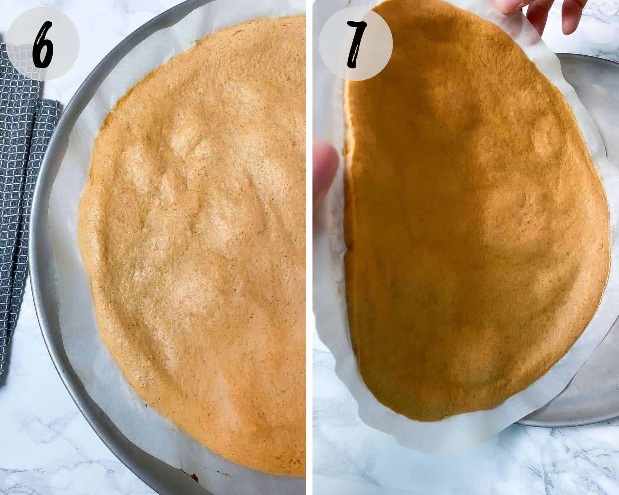 flipping lentil pizza crust over to bake the other side