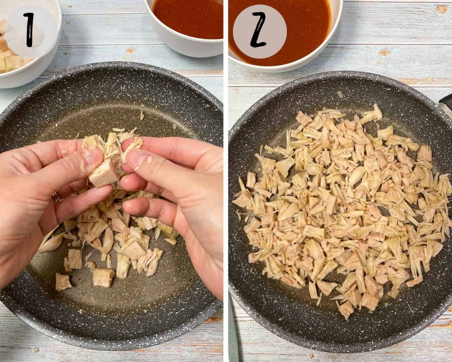 shredding jackfruit with hands into large skillet