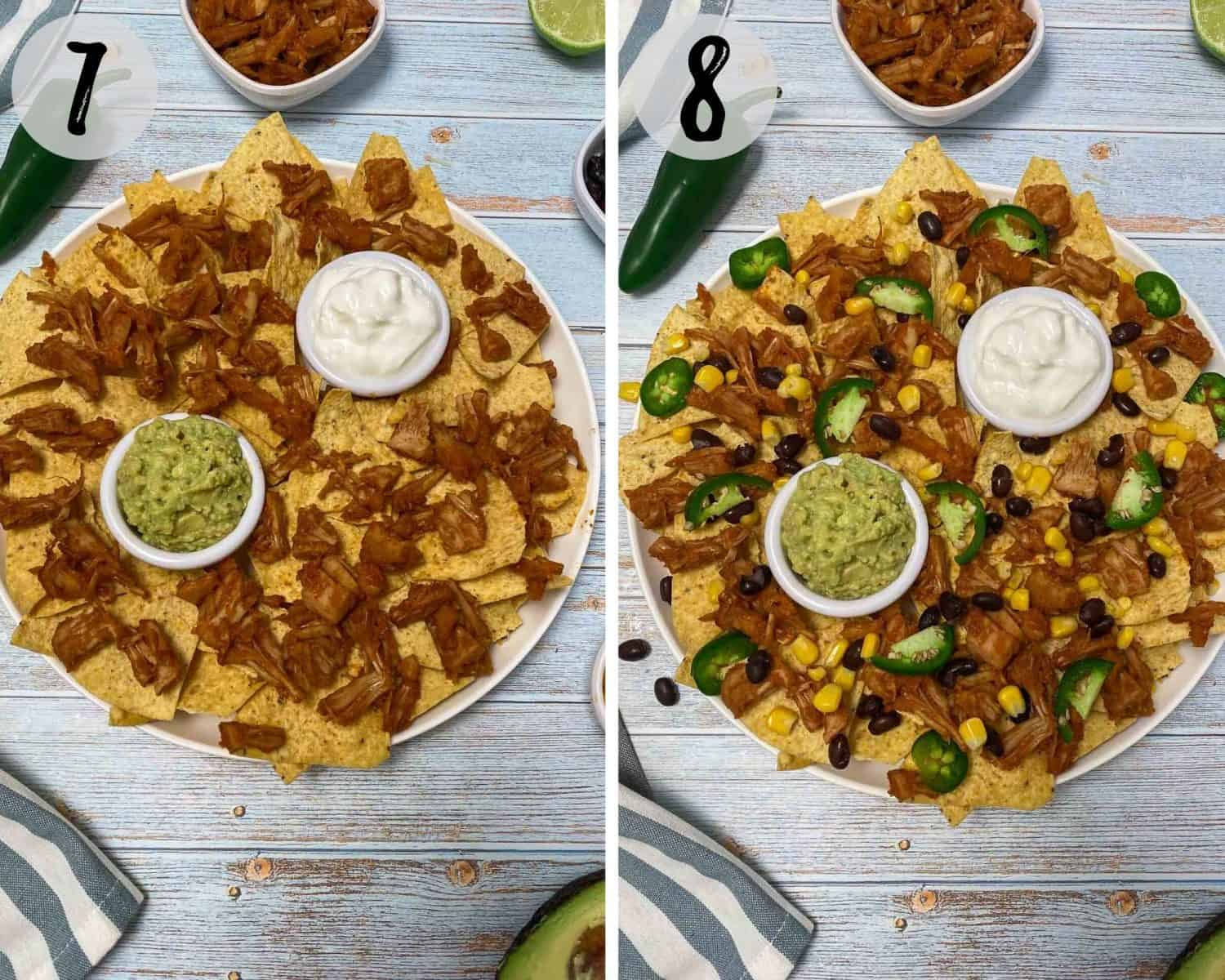 layering nacho chips with jackfruit, black beans, jalapeno and corn