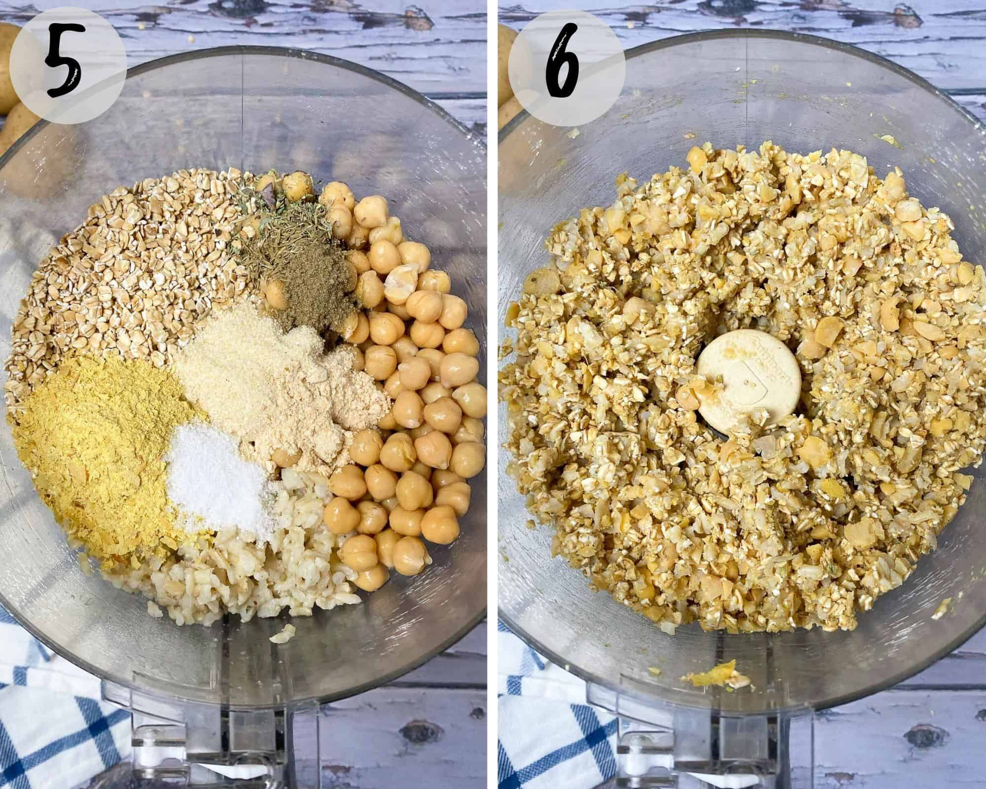 food processor with chickpeas, rice, oats and seasoning