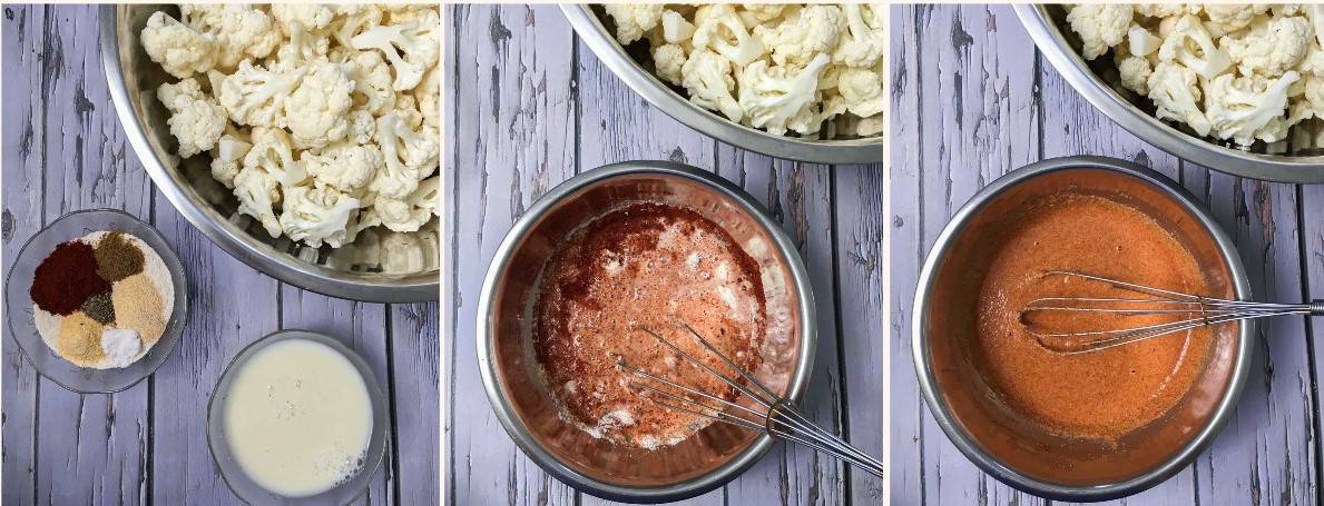 Bowl of seasoning and batter to mix with cauliflower.