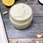 vegan sour cream in glass jar