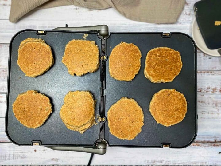 pancakes flipped on griddle to cook reverse side