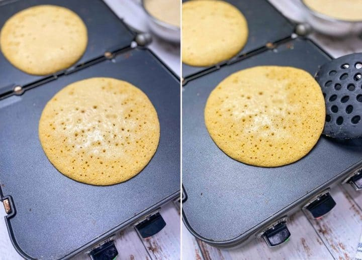 cooking socca on griddle