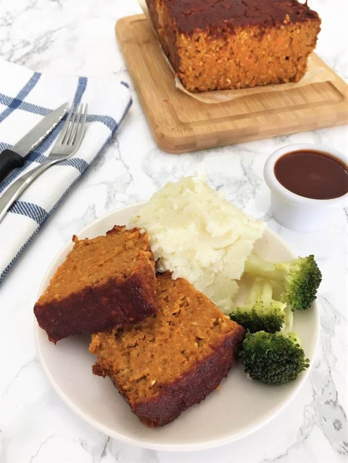 chickpea meatloaf slices on white plate
