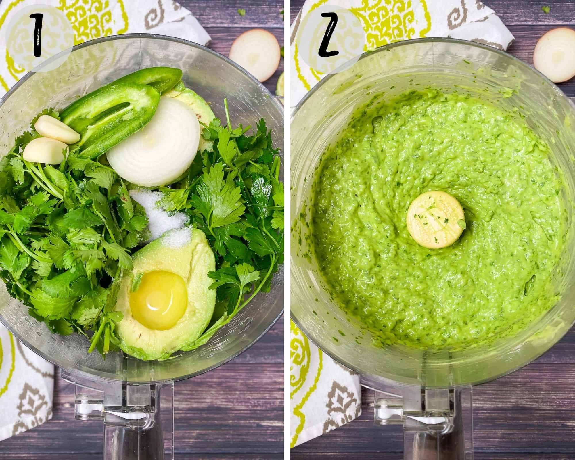 food processor filled with avocado, herbs, onion, jalapeno, salt and garlic to make dip