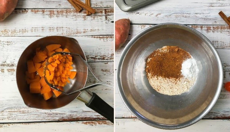 small pot of mashed sweet potato and bowl of dry ingredients