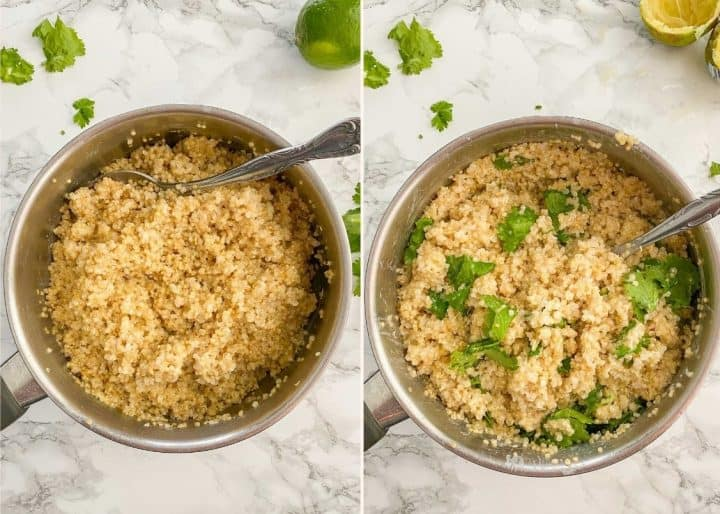 small pot fill with cooked quinoa