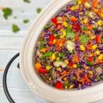 purple cabbage quinoa salad in serving platter