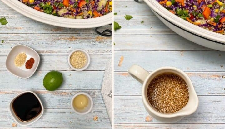 lime, soy sauce, sesame seeds, vinegar in small bowls to make salad dressing