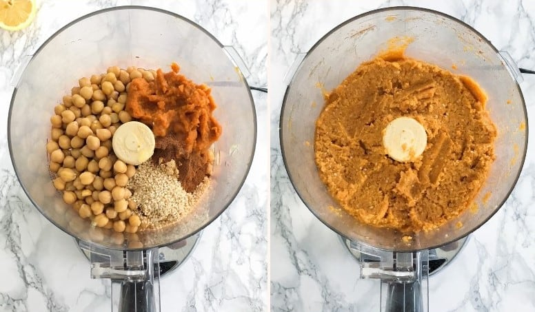 making hummus in food processor