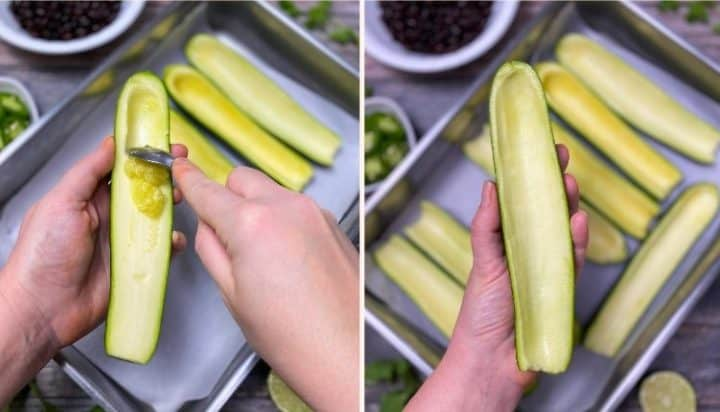 scraping out the inside of a halved zucchini to hollow it out